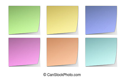 Post-It Notes - Six Blank Color Post-It Notes With Shadows...
