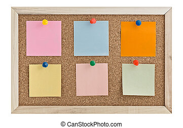 Post it notes on a cork board wiht thumbtacks.