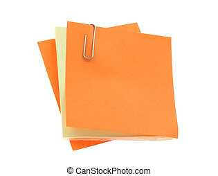 post-it notes with a paperclip on pure white background