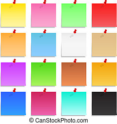 Post-it notes with push pins - Set of blank post-it notes...