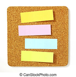 post-it on cork board
