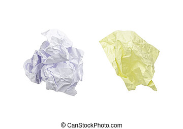 post it paper ball isolated on white with clipping path.