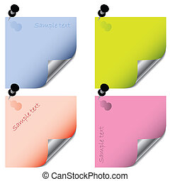 Post it stickers  - Post it sticker set with push pins