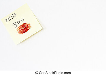 Post it with love message on blank