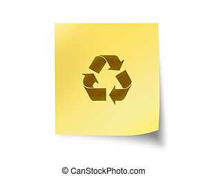 post it with recycle sign