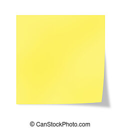 Post it - Yellow  post it on a white background