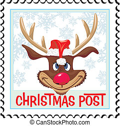 post, kerstmis, postzegel, -