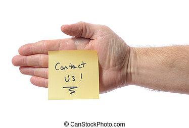 post, kontakta, den, oss