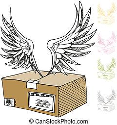 post, lucht, verpakken