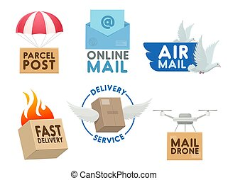 Post mail service vector icons