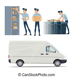 Post mail service vector icons with postman