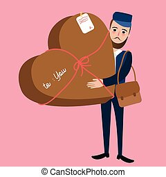 post man delivery guy bring package heart shape surprise