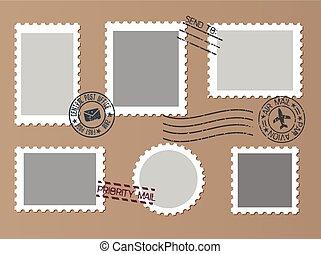 Post marks set on craft paper Background