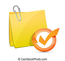 post memo check mark cycle illustration design over white