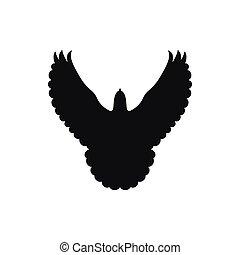 Post Messenger black pigeon. Dove silhouette
