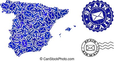 Post Movement Composition of Mosaic Map of Spain and Distress Stamps