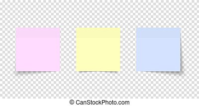 Post note set. Colored sheets of note papers