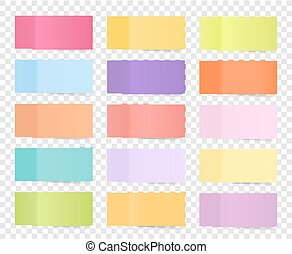 Post note sticker set isolated on transparent background. Paper sticky tape with shadow. Vector office color post sticks for advertising design.