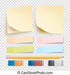 Post Note Sticker Vector. Isolated Set. Eraser And Pencil. Good For Advertising Design. Rainbow Memory Pads. Realistic Illustration