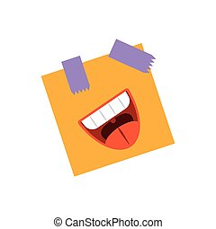 post note with cartoon mouth laughing, flat style icon