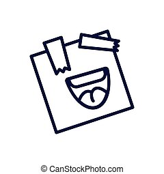 post note with cartoon mouth laughing, line style icon