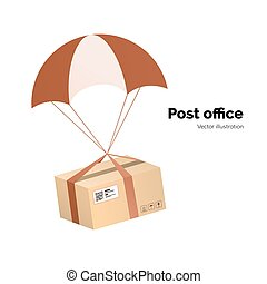 Post office. airmail delivery service. Packege with label, QR code. parcel with parachute for shipping, flat vector illustration