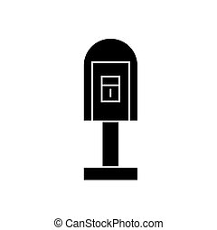 Post office box black icon concept. Post office box vector sign, symbol, illustration.