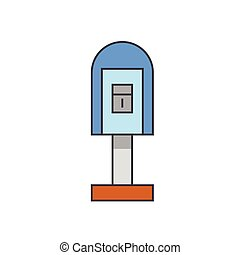 Post office box line icon concept. Post office box flat vector sign, symbol, illustration.