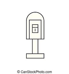 Post office box thin line icon concept. Post office box linear vector sign, symbol, illustration.