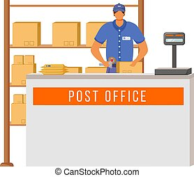 Post office male worker flat color vector illustration. Man checks and scans packages. Post service delivery. Parcels collection point isolated cartoon character on white background