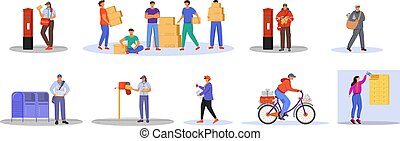 Post office male workers and loaders flat color vector illustration set. Man receives packages. Post service delivery. Boxes and parcels transportation isolated cartoon character on white background