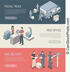 Post Office Service 3 Isometric Banners