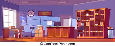Post office, service for delivery mail and parcels