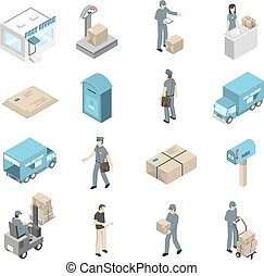 Post Office Service Isometric Icons Set