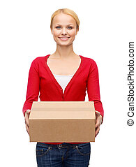 post, package and delivery concept - smiling woman in casual clothes with parcel box