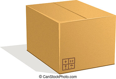 Post parcel - Cardboard box isolated on a white background. ...