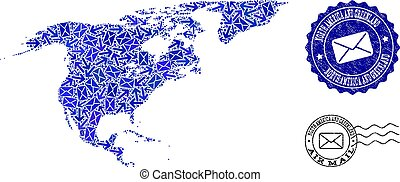 Post Pathways Collage of Mosaic Map of North America and Greenland and Grunge Seals