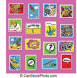 post, postzegels, kunst, komisch, verzameling