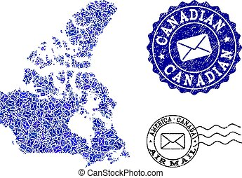 Post Routes Composition of Mosaic Map of Canada and Scratched Seals