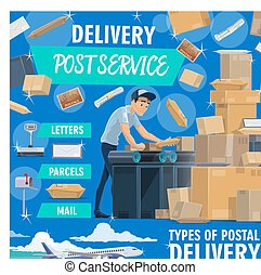 Post service delivery poster with postman and mail