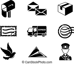 Post service vector black icon set