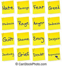 post, set, netgative, emoties, zijn