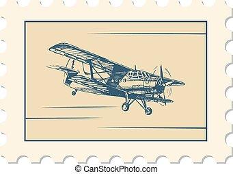 post stamp, biplane