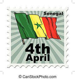 national day of Senegal - post stamp of national day of...