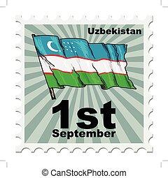 post stamp of national day of Uzbekistan