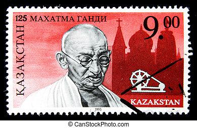 post stamp shows portrait of Mohandas Karamchand Gandhi