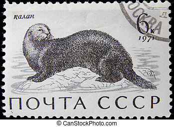 post stamp - USSR - CIRCA 1971: A post stamp printed in USSR...
