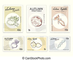 Post Stamps Set of Autumn Vegetables with Paper Cut Art -...