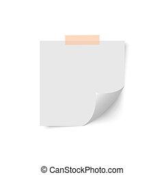 Post sticker with curled corner. Memo pin stick