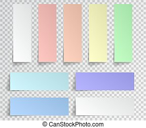 Post sticky note isolated. Set of paper stickers with shadow on transparent background. Vector illustration.